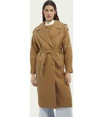 scotch & soda linen-blend trench coat