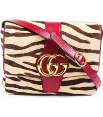 gucci arli double g zebra shoulder bag red/brown sz: m