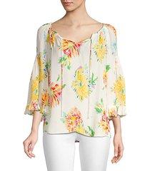 heidi floral silk-blend blouse