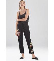 natori miyabi silk embroidered pants, women's, 100% silk, size xl