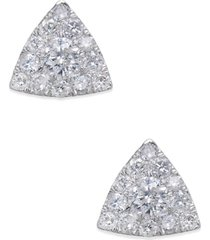 diamond pave triangle stud earrings (1/2 ct. t.w.) in 14k white gold