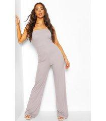 rib bandeau wide leg jumpsuit, silver grey