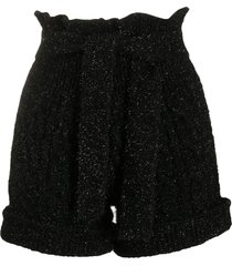 laneus high-rise tinsel knit shorts - black
