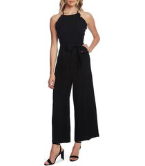 women's cece sleeveless belted ruffle jumpsuit, size 14 - black