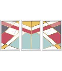 conjunto kit 3 quadro oppen house s 60x120cm escandinavo kiruna com vidro e moldura branca quadro oppen house s decorativos