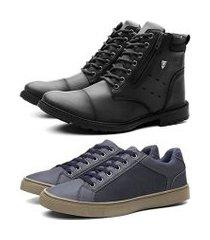 kit coturno masculino + sapatenis casual masculino preto e azul