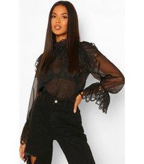 oversized blouse met kanten kraag en mouwen, black