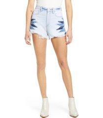 women's blanknyc the barrow high waist cutoff denim shorts, size 27 - blue