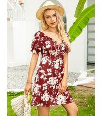 mini vestido con mangas abullonadas y estampado floral de yoins