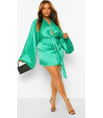 plus satijnen loshangende luipaardprint jurk met kimono mouwen, green