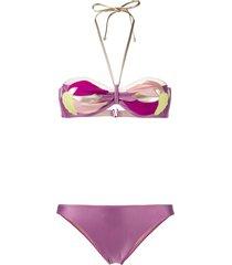 adriana degreas appliqué floral bikini - purple