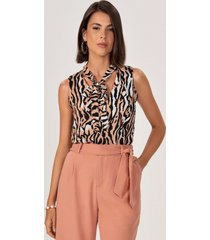 regata animal print gola laço