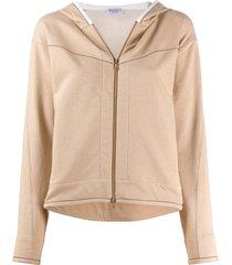 brunello cucinelli rhinestone-trimmed zip-up hoodie - neutrals
