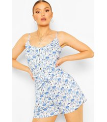 ditsy floral woven cami top & belted shorts co-ord, blue