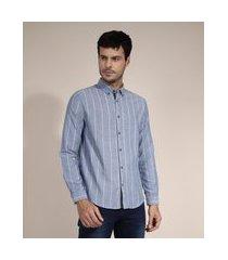 camisa de algodão comfort listrada manga longa azul