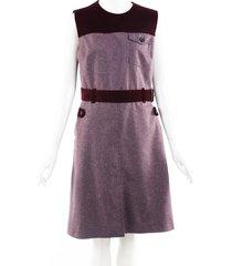 prada purple corduroy wool a-line dress purple sz: m