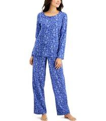charter club printed cotton pajama set, created for macy's