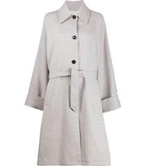 mm6 maison margiela belted mid-length coat - grey