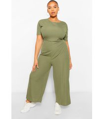 plus ribbed t-shirt jumpsuit, khaki