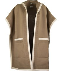 burberry logo graphic wool cashmere jacquard hooded cape