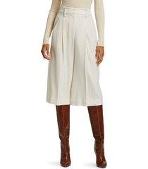 brunello cucinelli women's wool pleated bermuda shorts - white - size 40 (4)