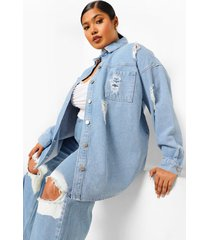 plus versleten oversized spijkerblouse, light blue