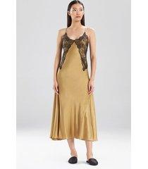 jolie silk gown pajamas / sleepwear / loungewear, women's, brown, 100% silk, size m, josie natori