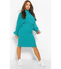 midi jurk met vleermuismouwen en touwtjes, blauwgroen