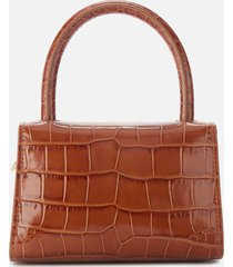 by far women's mini croco embossed shoulder bag - tan