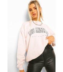 gebleekte extreme oversized la sweater met tekst, ecru