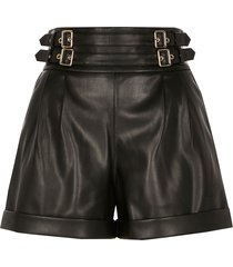 river island womens petite black faux leather paperbag shorts