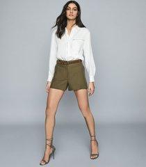 reiss lyla - tailored shorts in khaki, womens, size 10