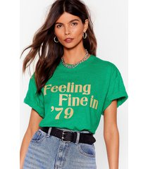 womens feeling fine in '79 relaxed graphic tee - green