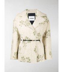 jil sander floral-pattern belted jacket