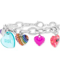 steve madden silver-tone pave multi-heart charm bracelet