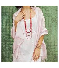 rayon and silk blend shawl, 'elegance in pink' (thailand)