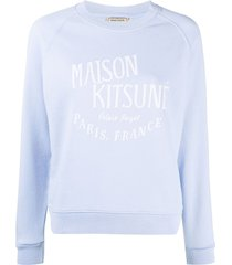 maison kitsuné palais royal cotton sweatshirt - blue