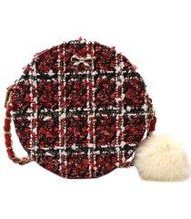 plaid in lana round borsa crossbody borsa per le donne