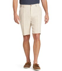 jos. a. bank men's reserve collection traditional fit linen flat front shorts clearance, oatmeal, 36 regular