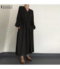 zanzea vestido camisero de manga larga con linterna para mujer vestido largo largo elegante para mujer kaftan tallas grandes -negro