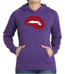 la pop art women's word art hooded sweatshirt -savage lips