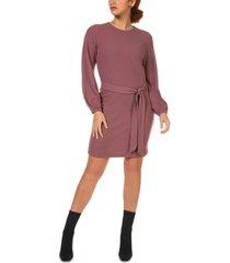 black tape belted balloon-sleeve sweater dress