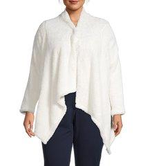 bobeau women's plus faux shearling high-low cardigan - sugar - size 1x (14-16)
