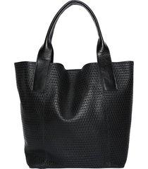 bolsa couro griffazzi shopping bag preto