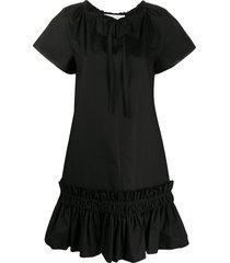 see by chloé key-hole gathered peplum dress - black