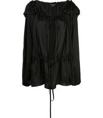 ann demeulemeester hooded pleated blouse - black
