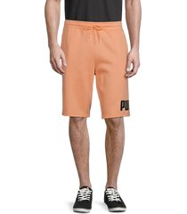 puma men's big fleece logo shorts - orange - size xxl
