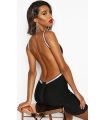 bandage diamante backless mini dress, black
