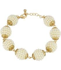 2028 gold-tone multi round imitation pearl ball bracelet