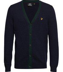contrast placket cardigan gebreide trui cardigan blauw lyle & scott